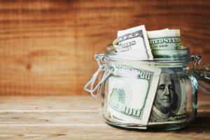 jar with saved money